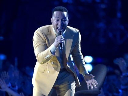 "John Legend performs ""Preach"" at the iHeartRadio Music Awards on Thursday, March 14, 2019, at the Microsoft Theater in Los Angeles. (Photo by Chris Pizzello/Invision/AP)"
