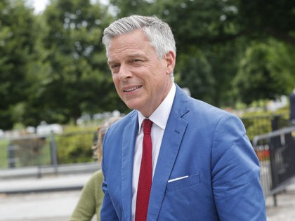 Jon Huntsman, U.S. ambassador to Russia, is seen arriving at the security check point entrance of the White House in Washington, Wednesday, May 30, 2018. (AP Photo/Pablo Martinez Monsivais)