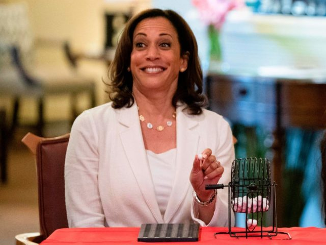 2020 Democratic Presidential hopeful Senator Kamala Harris (D-CA) plays bingo during a campaign stop at the Bickford Senior Living Center on August 12, 2019 in Muscatine, Iowa. - Harris finishes a multi-day bus tour across Iowa. (Photo by Alex Edelman / AFP) (Photo credit should read ALEX EDELMAN/AFP/Getty Images)