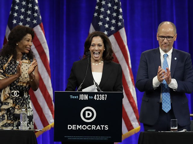 Democratic presidential candidate Sen. Kamala Harris, D-Calif., smiles as she is introduced at the Democratic National Committee's summer meeting Friday, Aug. 23, 2019, in San Francisco. More than a dozen Democratic presidential hopefuls are making their way to California to curry favor with national party activists from around country. Democratic …