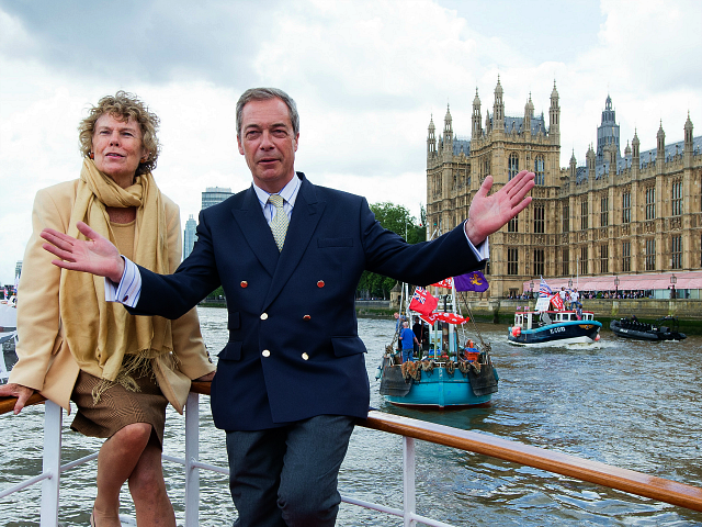 LONDON, ENGLAND - JUNE 15: (L-R) Kate Hoey and Nigel Farage, leader of the UK Independence Party show their support for the 'Leave' campaign for the upcoming EU Referendum aboard a boat on the River Thames on June 15, 2016 in London, England. Nigel Farage, leader of UKIP, is campaigning …