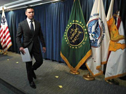 WASHINGTON, DC - JUNE 28: Acting Secretary of Homeland Security Kevin McAleenan walks away after a news conference at the Immigration and Customs Headquarters, on June 28, 2019 in Washington, DC. McAleenan spoke about the supplemental funding request for DHS and the Department of Health and Human Services and the …