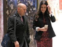 Retired Admiral James Stavridis (L), dean of Fletcher School at Tufts University is escorted by Madeleine Westerhout as he arrives at Trump Tower on December 8, 2016 in New York. / AFP / Dominick Reuter (Photo credit should read DOMINICK REUTER/AFP/Getty Images)