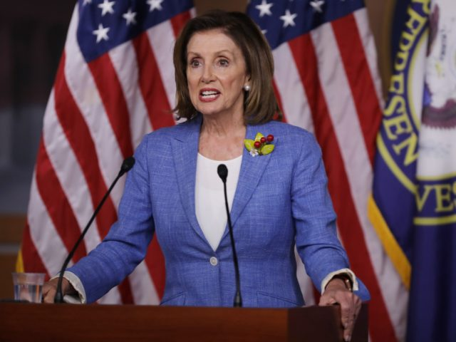 WASHINGTON, DC - JULY 26: Speaker of the House Nancy Pelosi (D-CA) holds her weekly press conference at the U.S. Capitol Visitors Center July 26, 2019 in Washington, DC. The House of Representatives passed a 2-year budget deal Thursday that was struck between Pelosi and Treasury Secretary Steven Mnuchin. (Photo …