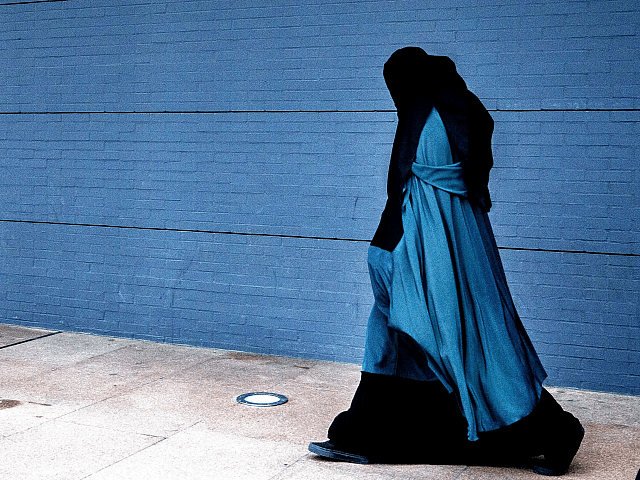 A woman wearing a burqa walks past the Palace of Justice in The Hague on December 1, 2014. The Dutch cabinet approved on May 22, 2015 a partial ban on wearing the face-covering Islamic veil, including in schools, hospitals and on public transport. AFP PHOTO / ANP PHOTO / FILER …