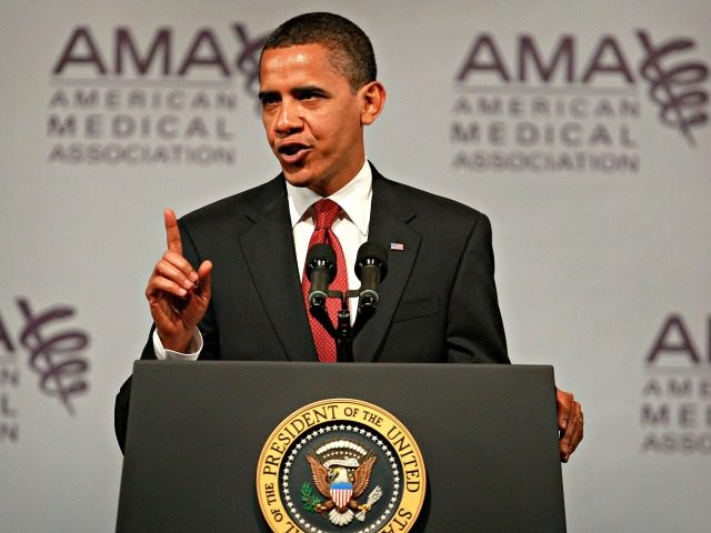 CHICAGO - JUNE 15: President Barack Obama addresses the annual meeting of the American Medical Association (AMA) June 15, 2009 in Chicago, Illinois. Obama used the meeting to present his healthcare reform agenda to the medical community. (Photo by Scott Olson/Getty Images)