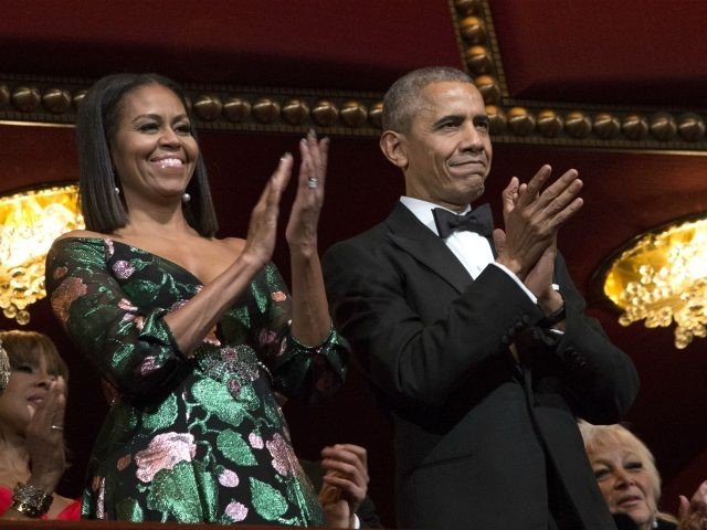 WASHINGTON, DC - DECEMBER 4: President Barack Obama and first lady Michelle Obama attend the Kennedy Center Honors show December 4, 2016 at the Kennedy Center in Washington, DC. The honorees include the band The Eagles, singer Mavis Staples, actor Al Pacino, singer James Taylor and pianist Martha Argerich. (Photo …