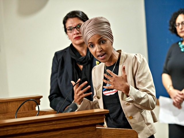ST PAUL, MN - AUGUST 19: U.S. Reps. Ilhan Omar (D-MN) and Rashida Tlaib (D-MI) hold a news conference on August 19, 2019 in St. Paul, Minnesota. Israeli Prime Minister Benjamin Netanyahu blocked a planned trip by Omar and Tlaib to visit Israel and Palestine citing their support for the …
