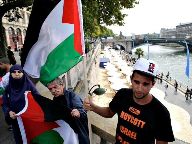 A man wearing a T-shirt of the Palestinian BDS (boycott, divestment and sanctions against Israel) movement holds a Palestinian flag in central Paris on Aug. 13, 2015. (Kenzo Tribouillard/AFP/Getty Images)