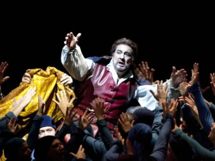 "FILE - In this Monday, Oct. 19, 2009 file photo, singer Placido Domingo, center, performs the opera ""Simon Boccanegra"" by Giuseppe Verdi at the Staatsoper in Berlin, Germany. Eight opera singers and a dancer have told The Associated Press that they were sexually harassed by Domingo, one of the most …"