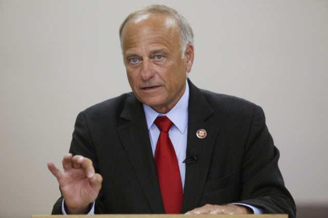 BOONE, IA - AUGUST 13: U.S. Rep. Steve King (R-IA) speaks during a town hall meeting at the Ericson Public Library on August 13, 2019 in Boone, Iowa. Steve King, who was stripped of House committee assignments earlier this year after making racist comments spoke about immigration and the U.S. …