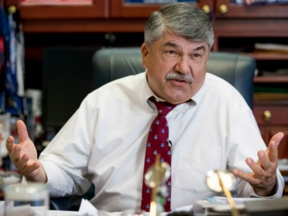 In this Feb. 1, 2016, photo, AFL-CIO President Richard Trumka speaks during an interview with the Associated Press in Washington. Wisconsin Gov. Scott Walker's crackdown on collective bargaining could serve as a model for President Donald Trump's plans to overhaul the federal workforce. But any such move by the new …