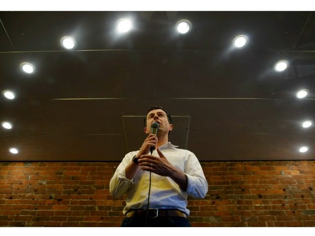 Democratic presidential candidate South Bend Mayor Pete Buttigieg speaks at a campaign event, Thursday, Aug. 15, 2019, in Oskaloosa, Iowa. (AP Photo/John Locher)