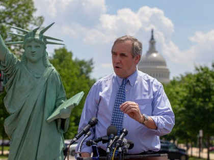 WASHINGTON, DC - MAY 16: Sen. Jeff Merkley (D-OR) at the America Welcomes Event with a Statue Of Liberty Replica Shows Solidarity With Immigrants & Refugees at Union Station on May 16, 2019 in Washington, DC. (Photo by Tasos Katopodis/Getty Images for MoveOn.org)