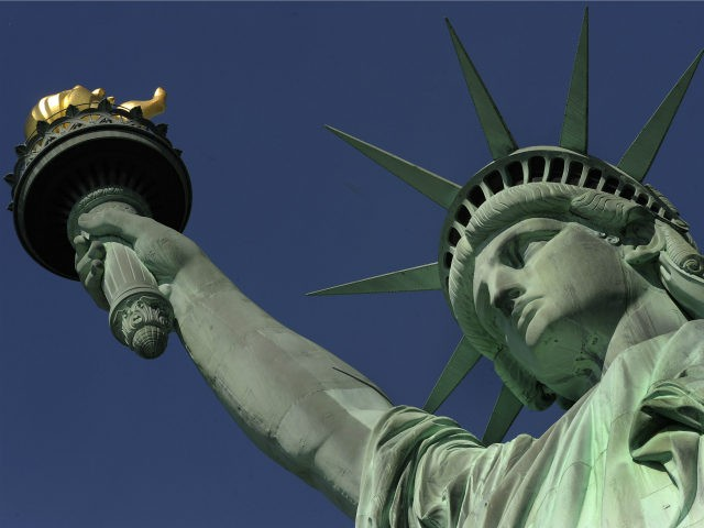 The Statue of Liberty during a media tour to the crown May 20, 2009. On July 4, 2009, the statue's crown will be reopened for the first time since the September 11, 2001, attacks on the World Trade Center. AFP PHOTO / TIMOTHY A. CLARY (Photo credit should read TIMOTHY …
