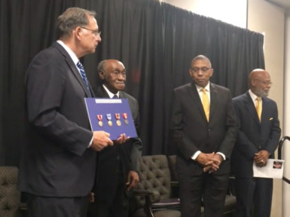 Five overdue medals were awarded to a World War II veteran, Thomas Franklin Vaughns, on Wednesday afternoon in Pine Bluff, Arkansas.
