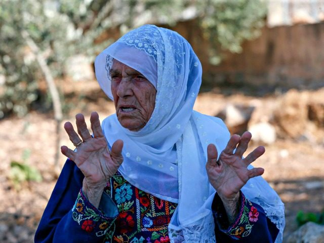 Muftia Tlaib, the maternal grandmother of US Congresswoman Rashida, is pictured outside her home in the village of Beit Ur al-Fauqa, in the occupied West Bank on August 15, 2019. - US President Donald Trump called on Israel to bar a looming planned visit by two US congresswomen who have …