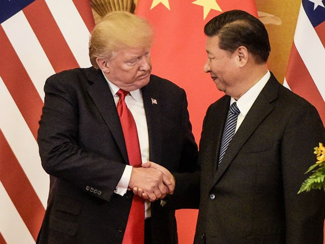 TOPSHOT - US President Donald Trump (L) shakes hand with China's President Xi Jinping at the end of a press conference at the Great Hall of the People in Beijing on November 9, 2017.