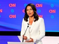 Rep. Tulsi Gabbard, D-Hawaii, speaks during the second of two Democratic presidential primary debates hosted by CNN Wednesday, July 31, 2019, in the Fox Theatre in Detroit. (AP Photo/Paul Sancya)