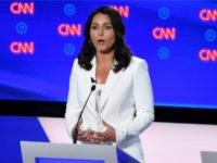 Democratic presidential hopeful US Representative for Hawaii's 2nd congressional district Tulsi Gabbard delivers her opening statement during the second round of the second Democratic primary debate of the 2020 presidential campaign season hosted by CNN at the Fox Theatre in Detroit, Michigan on July 31, 2019. (Photo by Jim WATSON …