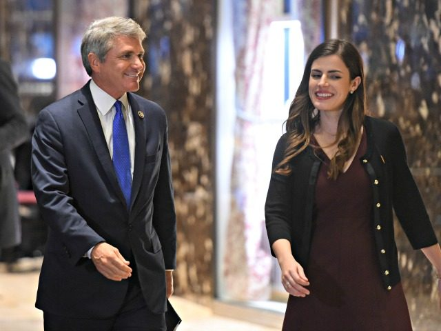 US Rep. Michael McCaul (R-TX), flanked by a presidential transition team aide Madeleine Westerhout, arrives at Trump Tower during another day of meetings with President-elect Donald Trump November 29, 2016 in New York. / AFP / TIMOTHY A. CLARY (Photo credit should read TIMOTHY A. CLARY/AFP/Getty Images)