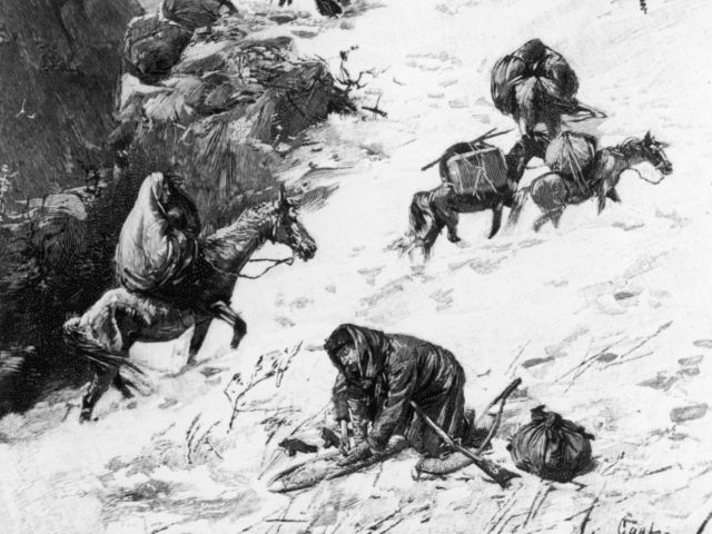 Illustration captioned 'On The Way To The Summit,' depicting the Donner Party, a group of California-bound American emigrants caught up in the 'westering fever' of the 1840s. After becoming snowbound in the Sierra Nevada in the winter of 1846/1847, some of them resorted to cannibalism. USA, circa 1846. (Photo by …