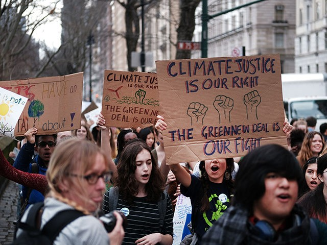 NEW YORK, NY - MARCH 15: Students march to the Museum of Natural History to protest the lack of action on global warming and other climate related issues on March 15, 2019 in New York City. In a collective action around the country and world tens of thousands students stepped …