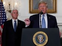 WASHINGTON, DC - AUGUST 05: U.S. President Donald Trump makes remarks in the Diplomatic Reception Room of the White House as U.S. Vice President Mike Pence looks on August 5, 2019 in Washington, DC. President Trump delivered remarks on the mass shootings in El Paso, Texas, and Dayton, Ohio, over …