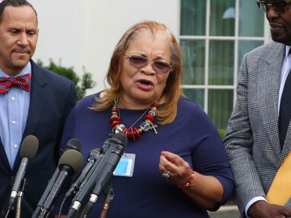 WASHINGTON, DC - JULY 29: Alveda King (2R), niece of Dr. Martin Luther King Jr., speaks to the media following a meeting with U.S. President Donald Trump and other faith-based inner-city leaders at the White House on July 29, 2019 in Washington, DC. U.S. President Donald Trump has again been …