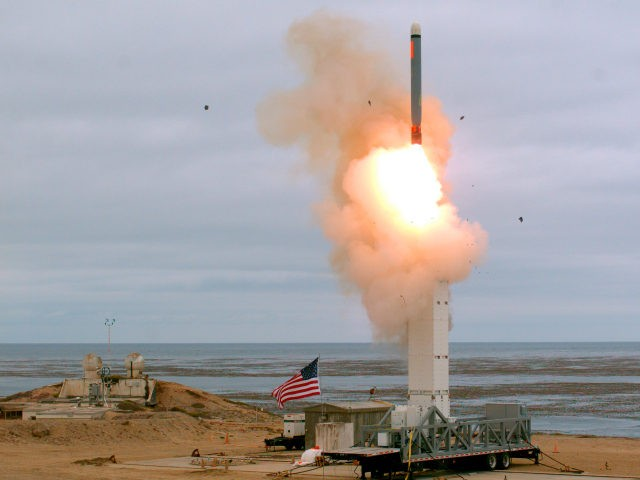 This Sunday, Aug. 18, 2019 photoprovided by the U.S. Defense Department shows the launch of a conventionally configured ground-launched cruise missile on San Nicolas Island off the coast of California. The Pentagon said Monday the U.S. military has conducted a flight test of a type of missile banned for more …
