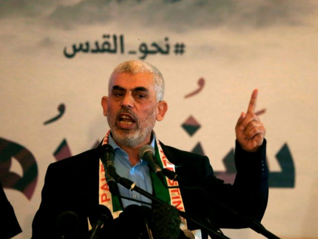 "Hamas' leader in the Gaza Strip Yahya Sinwar speaks during a press conference for Quds (Jerusalem) day in Gaza City on 30 May 2019. - The ""Quds day"" (the day of Jerusalem), a commemoration first initiated by Iran in 1979 to fall on the last Friday of the holy month …"