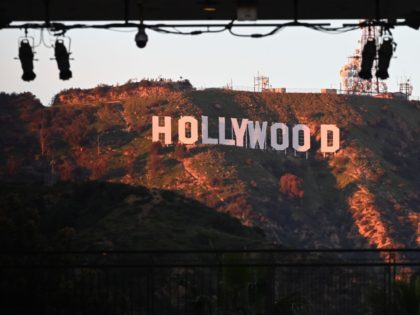 The Hollywood sign is seen from Hollywood Boulevard, on the site of the upcoming Academy Award ceremony on February 21, 2019 in Hollywood. - The annual Academy Awards ceremony will take place on February 24, 2019. (Photo by Robyn Beck / AFP) (Photo credit should read ROBYN BECK/AFP/Getty Images)