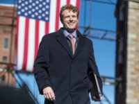 LAWRENCE, MA - FEBRUARY 09: Rep. Joe Kennedy III takes the stage before introducing Sen. Elizabeth Warren (D-MA) during her event announcing her official bid for President on February 9, 2019 in Lawrence, Massachusetts. (Photo by Scott Eisen/Getty Images)