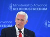 US Vice President Mike Pence speaks during the second Ministerial to Advance Religious Freedom in the Loy Henderson Auditorium of the State Department in Washington, DC, on July 18, 2019. - Pence said Thursday that the US is imposing sanctions on the leaders of two Iranian-linked militia groups in Iraq. …