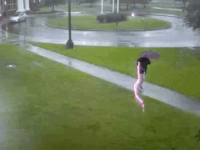 Video captures the moment when Romulus McNeill stepped outside during a storm, when a flash of lighting struck so close by that he dropped his umbrella before getting out of there.