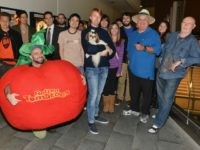 """CENTURY CITY, CA - OCTOBER 19: Bonny the ShihTzu with Kerr Lordygan (in Tomatoe suit) and fans attend a screening of CBS Films' """"Seven Psychopaths"""" celebrating the Certified Fresh Rating from RottenTomatoes.com at AMC Century City 15 theater on October 19, 2012 in Century City, California. (Photo by Alberto E. …"""