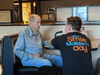 A sweet story behind images of an elderly man and his waiter is being shared by thousands on Facebook.