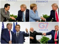 Abe: U.S President Donald Trump and Japanese Prime Minister Shinzo Abe shake hands as they participate in a bilateral meeting at the G-7 summit in Biarritz, France, Sunday, Aug. 25, 2019. (AP Photo/Andrew Harnik) Merkel: U.S. President Donald Trump and German Chancellor Angela Merkel, left, shake hands during a bilateral …