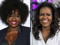 "This combination photo shows actress Viola Davis at the Glamour Women of the Year Awards in New York on Nov. 12, 2018, left, and former first lady Michelle Obama on NBC's ""Today"" show in New York on Oct. 11, 2018. Davis is set to portray Obama in a Showtime series …"