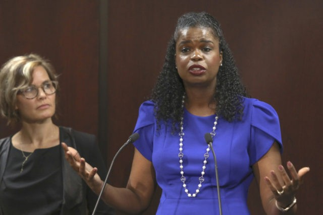 Cook County State's Attorney Kim Foxx speaks at a news conference Tuesday, Aug. 27, 2019, in Chicago accompanied by Jennifer Pahlka, Code for America Founder and Executive Director. Foxx has enlisted Code for America a national nonprofit organization to help clear tens of thousands of marijuana convictions in preparation for …