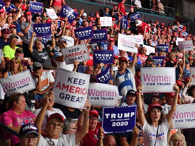 "Supporters of US President Donald Trump cheer during a ""Keep America Great"" campaign rally at the SNHU Arena in Manchester, New Hampshire, on August 15, 2019. (Photo by Nicholas Kamm / AFP) (Photo credit should read NICHOLAS KAMM/AFP/Getty Images)"