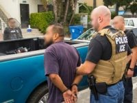 U.S. Immigration and Customs Enforcement officers arrest a migrant during a five-day targeted enforcement operation. (Photo: U.S. Immigration and Customs Enforcement/Enforcement and Removal Operations)