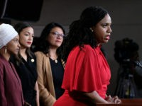 WASHINGTON, DC - JULY 15: U.S. Rep. Ayanna Pressley (D-MA), speaks while Reps. Ilhan Omar (D-MN), Alexandria Ocasio-Cortez (D-NY), and Rashida Tlaib (D-MI) listen during a press conference at the U.S. Capitol on July 15, 2019 in Washington, DC. President Donald Trump stepped up his attacks on four progressive Democratic …