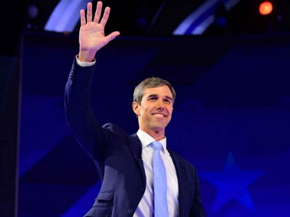 Democratic presidential hopeful former Texas Representative Beto O'Rourke waves as he arrives onstage for during the third Democratic primary debate of the 2020 presidential campaign season hosted by ABC News in partnership with Univision at Texas Southern University in Houston, Texas on September 12, 2019. (Photo by Frederic J. BROWN …