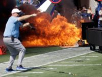 WATCH: Titans Pyrotechnic Machine Bursts into Flames