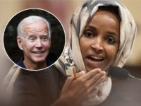 "(INSET: Joe Biden) House Subcommittee on Intelligence and Counterterrorism member Rep. Ilhan Omar, D-Minn., speaks during a hearing on ""meeting the challenge of white nationalist terrorism at home and abroad"" on Capitol Hill in Washington, Wednesday, Sept. 18, 2019. (AP Photo/Manuel Balce Ceneta)"
