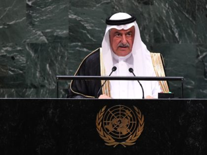 Minister of Foreign Affairs of Saudi Arabia Ibrahim Abdulaziz Al-Assaf speaks during the 74th session of the United Nations General Assembly on September 26, 2019 at the United Nations Headquarters in New York City. (Photo by Johannes EISELE / AFP) (Photo credit should read JOHANNES EISELE/AFP/Getty Images)