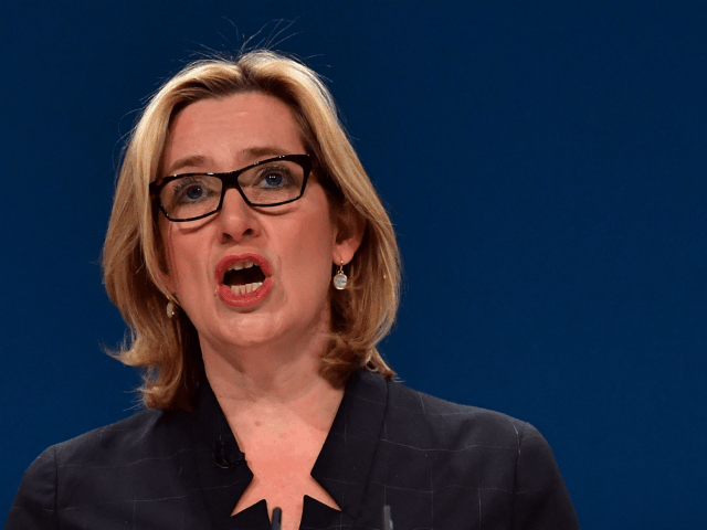 BIRMINGHAM, ENGLAND - OCTOBER 04: Home Secretary, Amber Rudd, delivers a her first speech as Home Secretary on the third day of the Conservative Party Conference 2016 at the International Conference Centre on October 4, 2016 in Birmingham, England. Ministers and senior Party members will address delegates throughout the day …