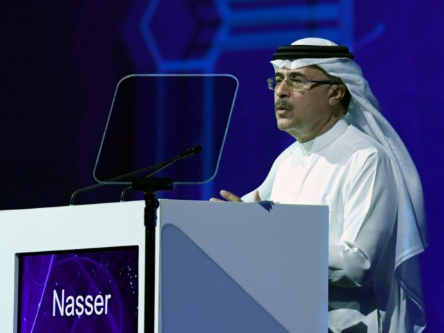 Saudi state oil company Aramco's CEO Amin Nasser speaks during the 24th World Energy Congress (WEC) in the UAE capital Abu Dhabi on September 10, 2019. - Saudi energy giant Aramco is ready for a two-stage IPO but the timing is up to the government, Nasser said today, flagging a …