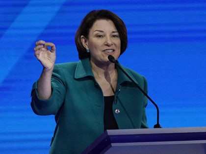Sen. Amy Klobuchar, D-Minn., responds to a question Thursday, Sept. 12, 2019, during a Democratic presidential primary debate hosted by ABC at Texas Southern University in Houston. (AP Photo/David J. Phillip)